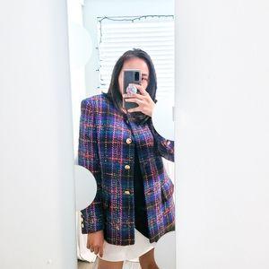 ESCADA Vintage Wool Blend Colorful Tweed Coat 36